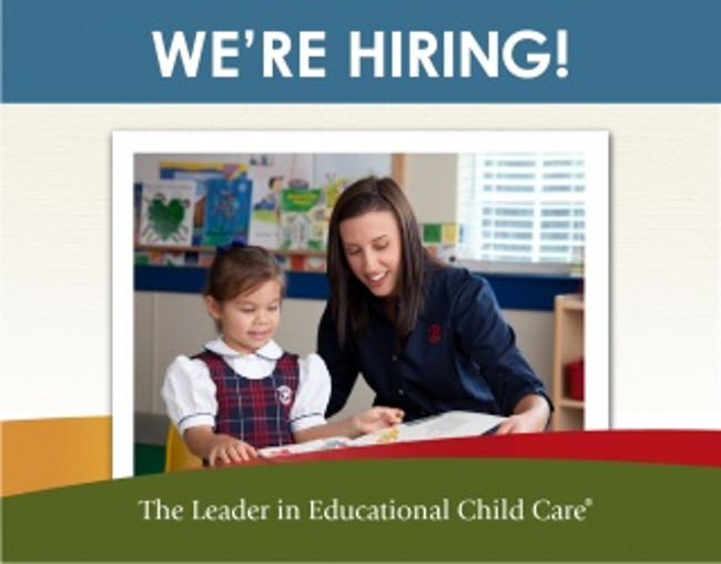 We're hiring poster featuring a Primrose teacher help her kindergarten student read a book