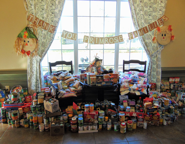 Display of all the food collected during Percy's turkey feather food drive at Primrose school of Shady Hollow