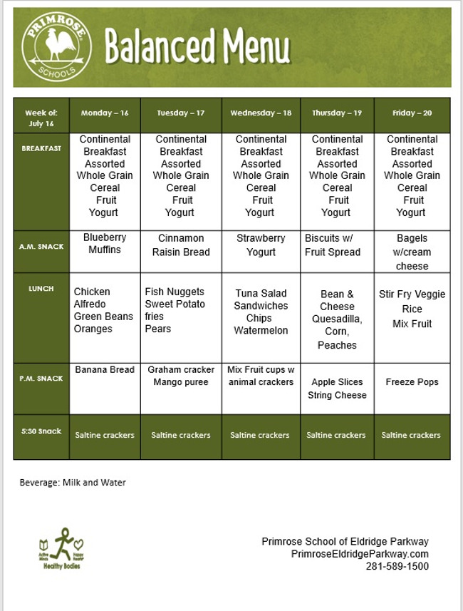 Weekly menu for July 16th through July 20th. Lists breakfast, AM snack, Lunch, PM snack, and late snack.