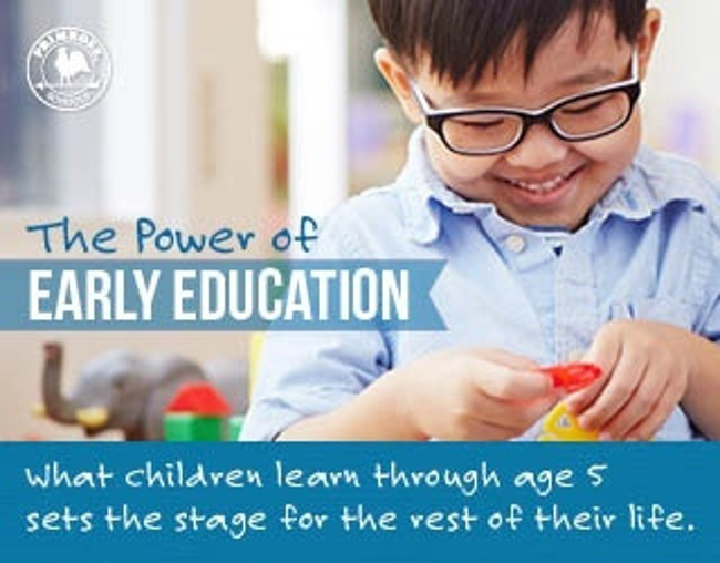 Power of early education poster featuring a young boy playing happily with colorful discs