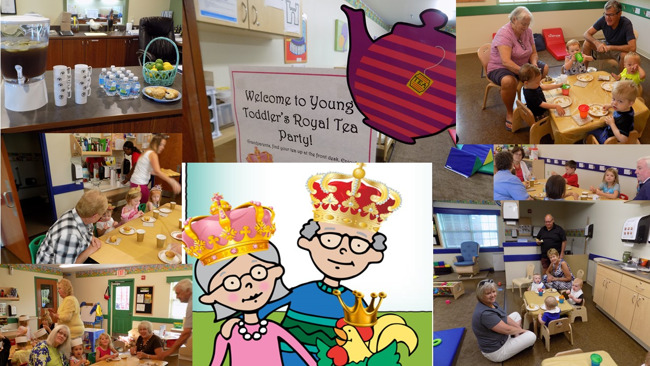 Collage of images from the Royal grandparent tea party where Primrose students and their grandparents have fun