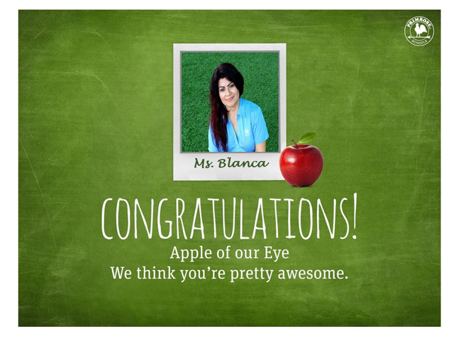 Congratulations Ms. Blanca for Apple of our Eye!