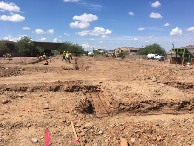 Foundation being laid for the Primrose school of North Scottsdale
