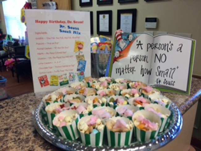Snacks inspired by Dr. Seuss's books on his birthday