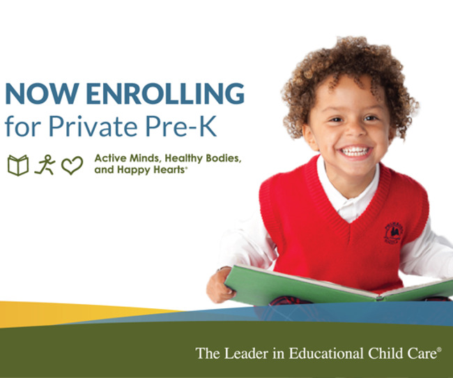 Now enrolling for private pre-K poster featuring a young Primrose student smiling and holding a book