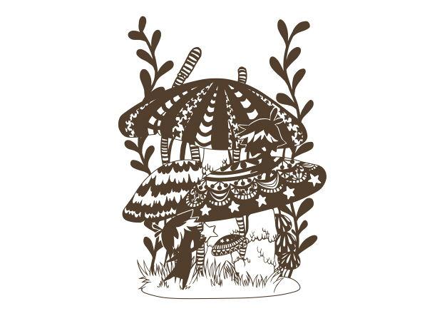 キノコと妖精*切り絵用原画