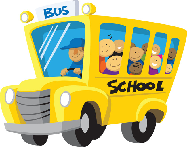 Illustration of a school bus full of children