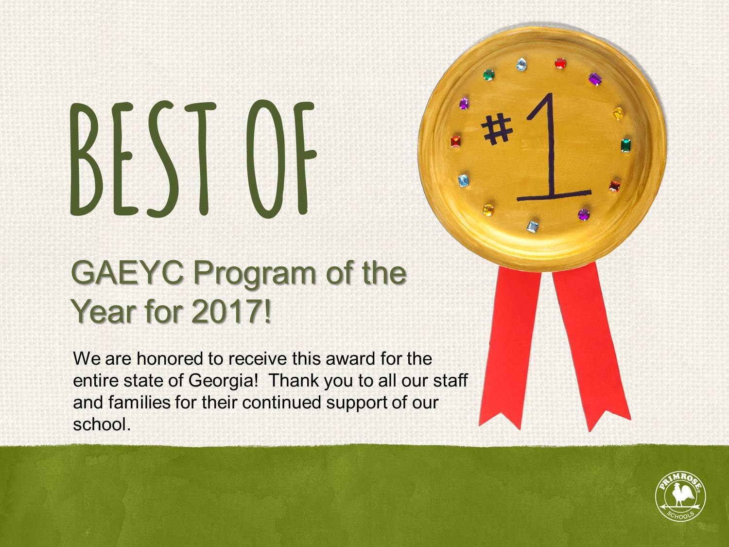 Best of GAEYC program poster thanking everyone who made this possible