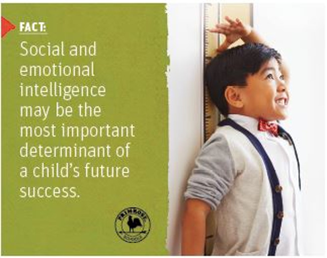 Poster featuring a scientific fact about intelligence in children next to a young boy excitedly measuring his height