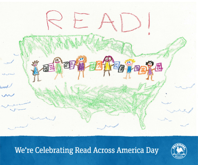 A poster for 'Read across America day' with a child's drawing depicting children holding hands across the American map