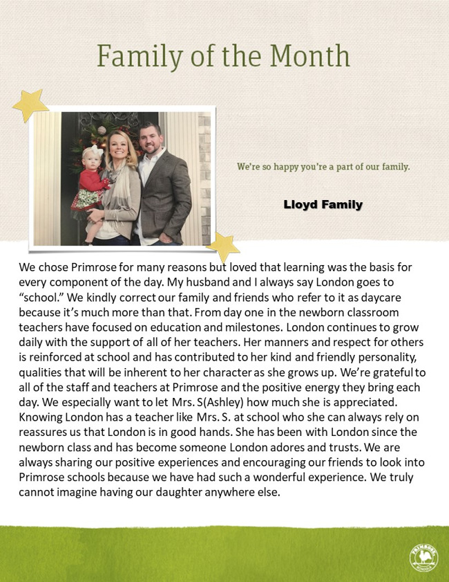 family picture and a paragraph about their family on tan background