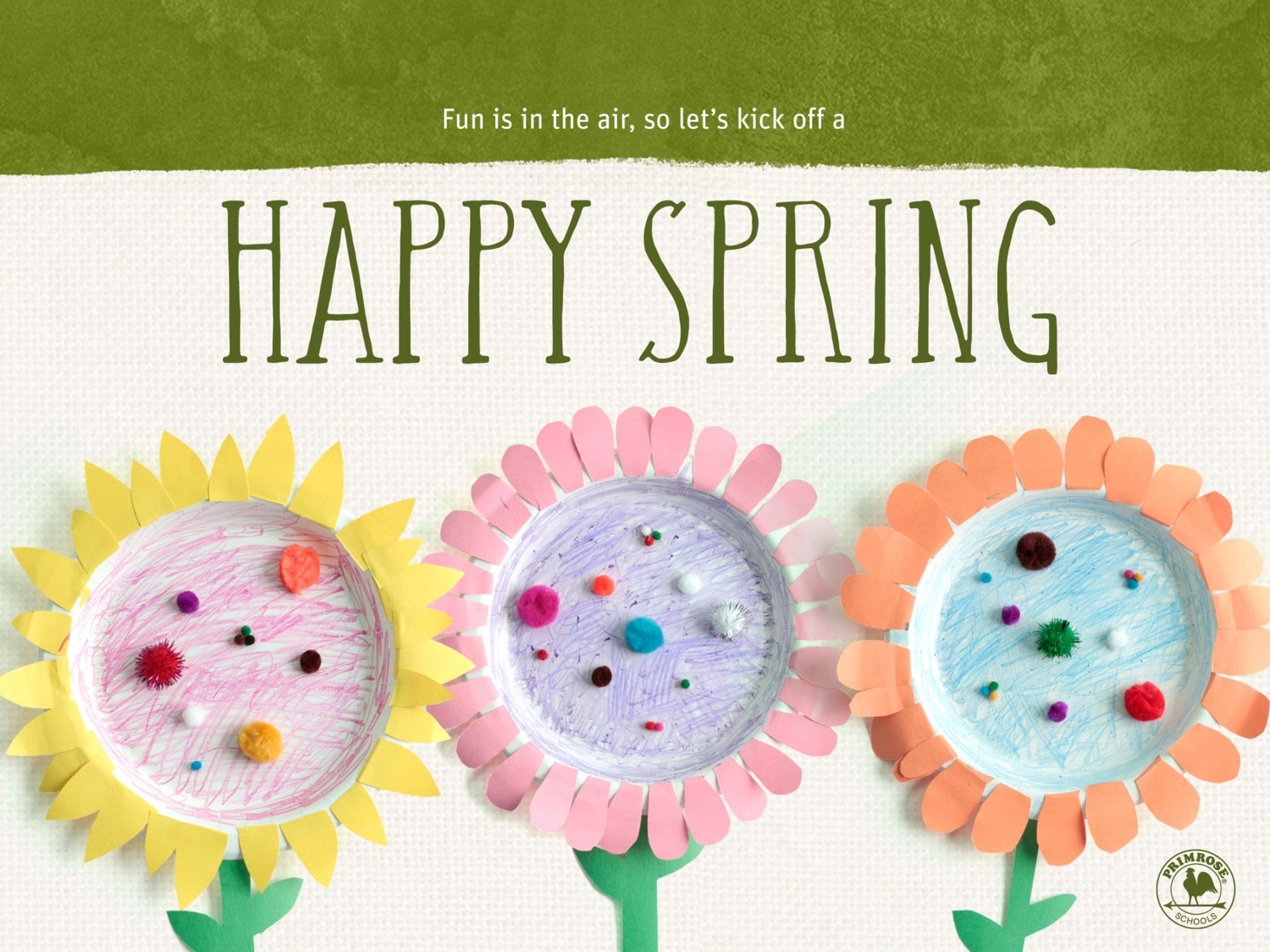 """Handcrafted paper plate flowers are on a tan background with the words """"Happy Spring"""" in green above them"""