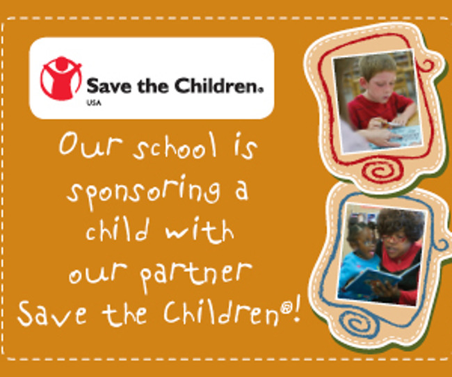 Poster stating that the Primrose school of Heritage sponsors one child in association with the Save the Children foundation