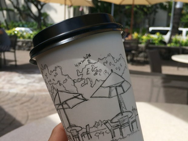 drawing to go at honolulu coffee