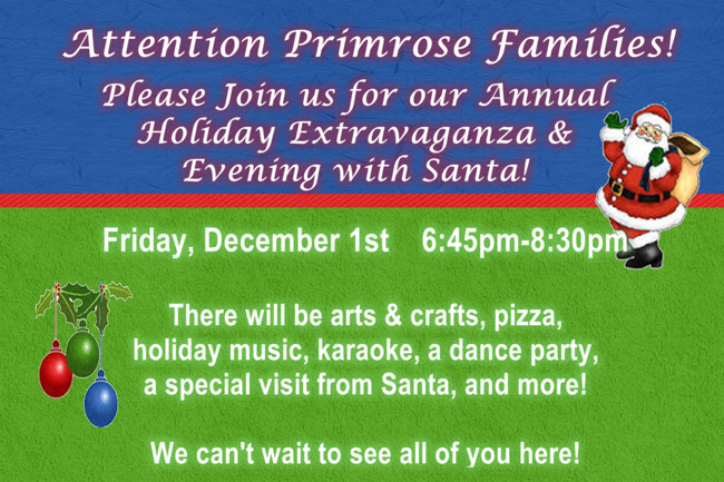 Invitation poster for holiday extravaganza describing the activities and timings of the event
