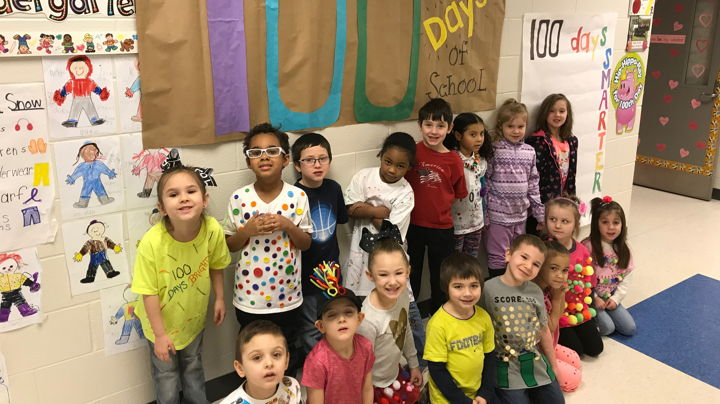 Mrs. West's class celebrates their 100th day of school.