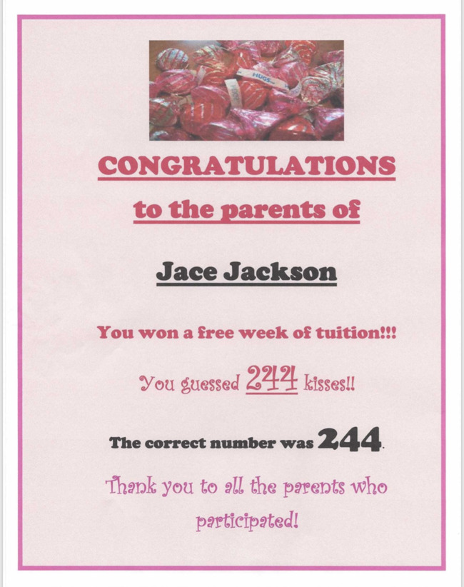 Congratulations to our family who was the winner of our Guess the Hershey's Kisses Contest!