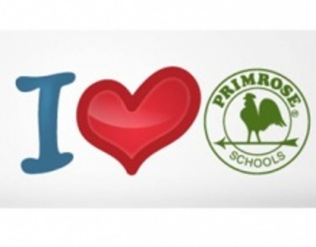 "I love Primrose poster featuring the letter ""I"", an illustrated heart and the Primrose schools logo"