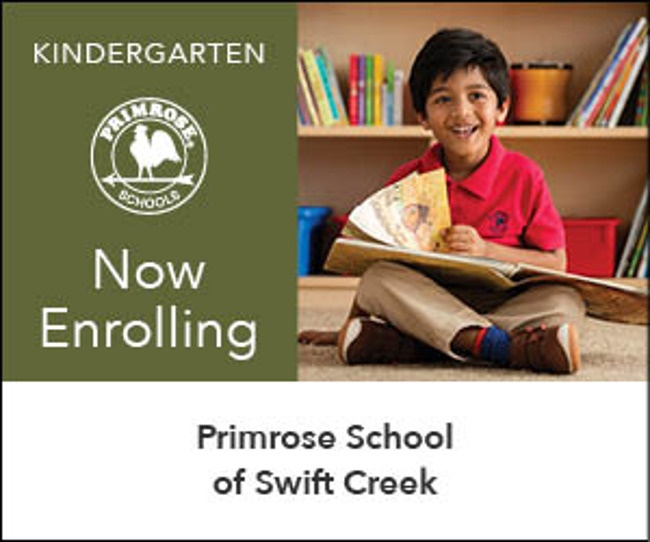 Now Enrolling Private Kindergarten with student in Primrose uniform reading