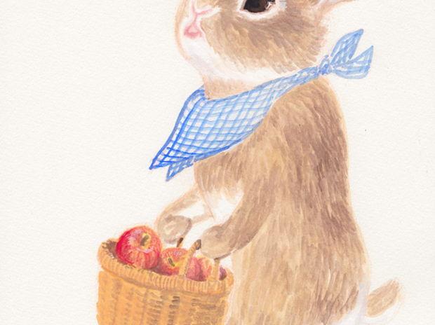 りんごを運ぶ うさぎさん