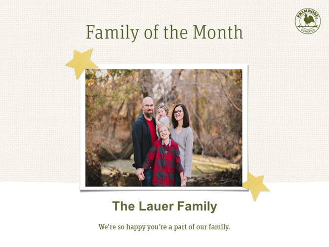 family of the month july happy brother sister mom dad preston meadow primrose schools woods red black green winter