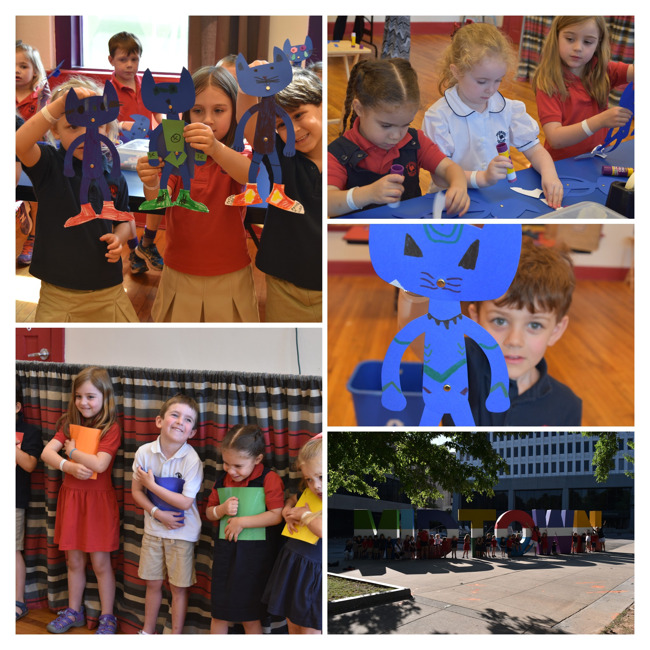Collage of Primrose students holding up their hand made puppets