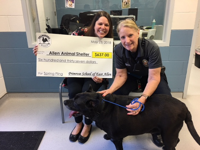 Primrose East Allen Spring Fling Donation to Allen Animal Shelter