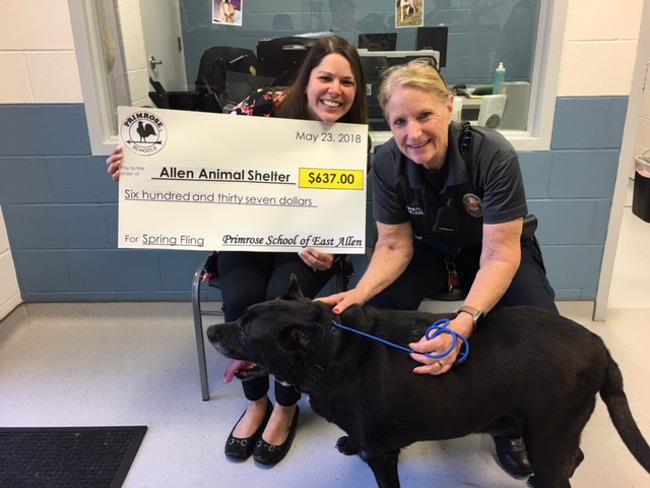 Primrose East Allen Spring Fling Donation to Allen Animal Shelter