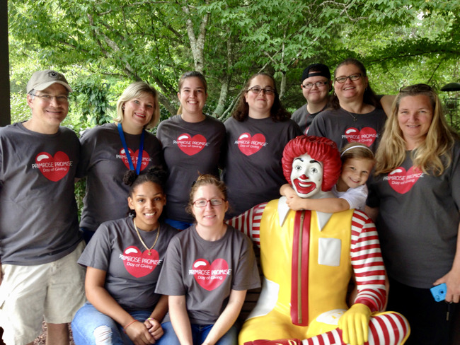 Primrose staff volunteering at Ronald McDonald House of Chapel Hill