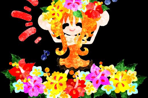 夏の思い出とハイビスカスの花畑と花冠