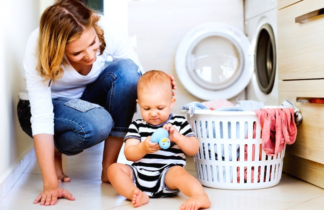 mom baby laundry room basket