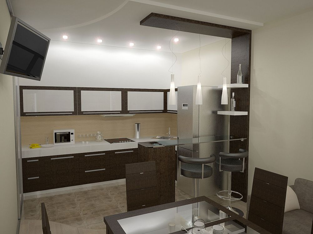 Дизайн интерьера кухни без окон