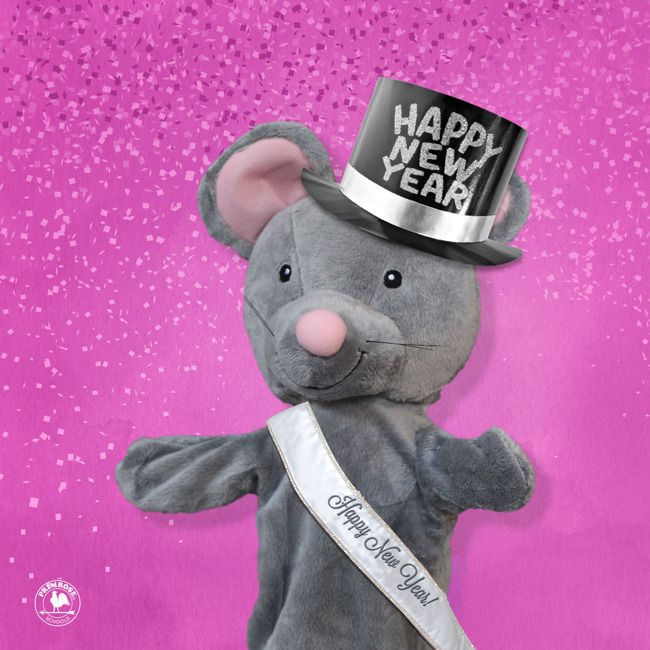 Primrose puppet Mia the mouse wishes everyone a happy new year