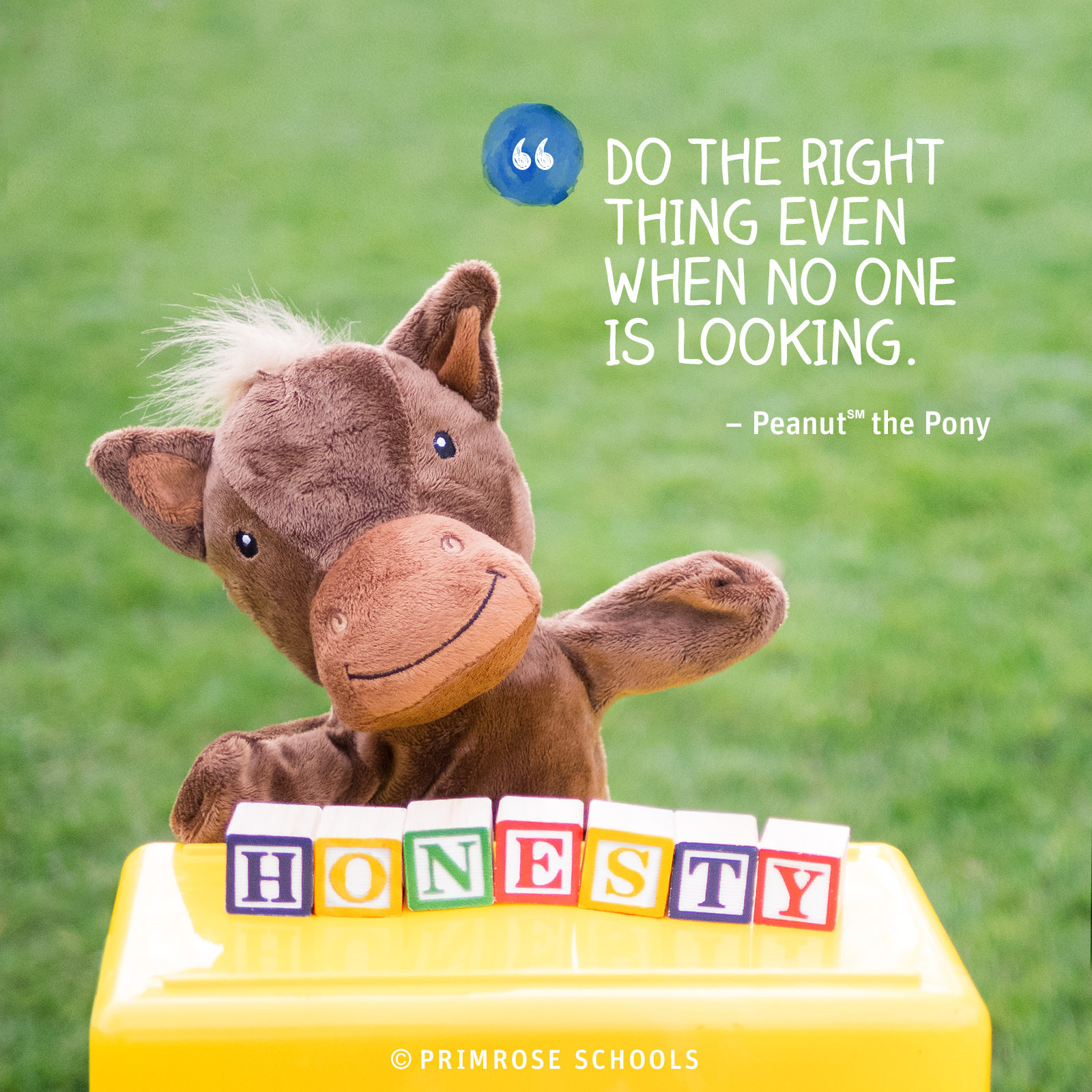 "Peanut the pony hand puppet stands behind block that spell the word ""Honesty"""