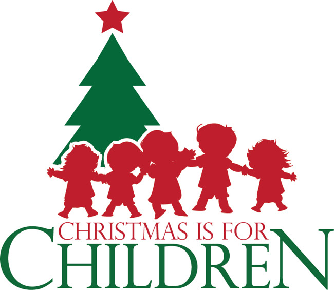Christmas is for children, silhouettes of children by Christmas tree