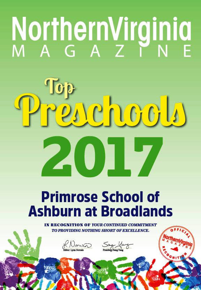 Poster of the Primrose school being awarded the title of the top preschool by Northern Virginia magazine