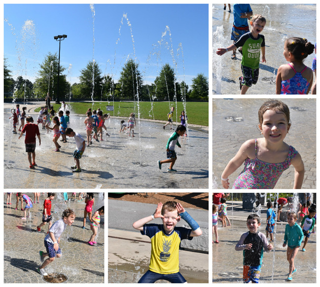 Collage of students running around and enjoying themselves at the Piedmont Park Splash Fountain