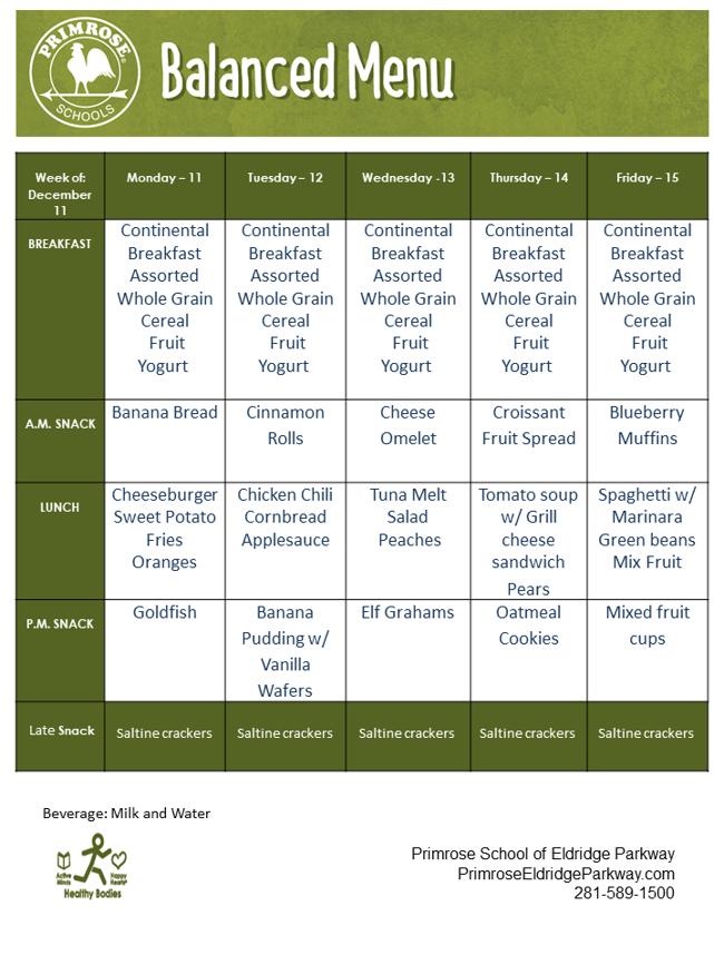Menu for the week of December 11 - 15