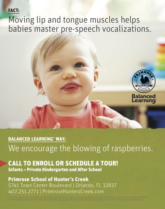 Poster stating scientific fact about speech development in toddlers and featuring a little girl blowing raspberries