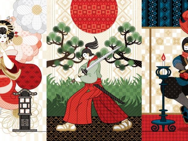 花魁と行灯・侍と刀と松と日の丸・忍者と燭台(リメイク)