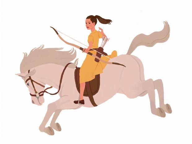 Girl archer on a horse