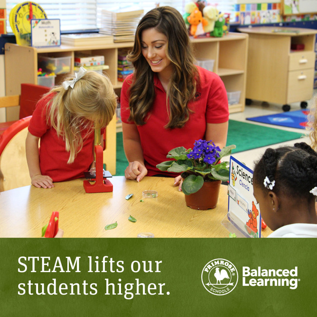 STEAM program poster featuring featuring a Primrose teacher smiling as her student looks at a leaf through a microscope