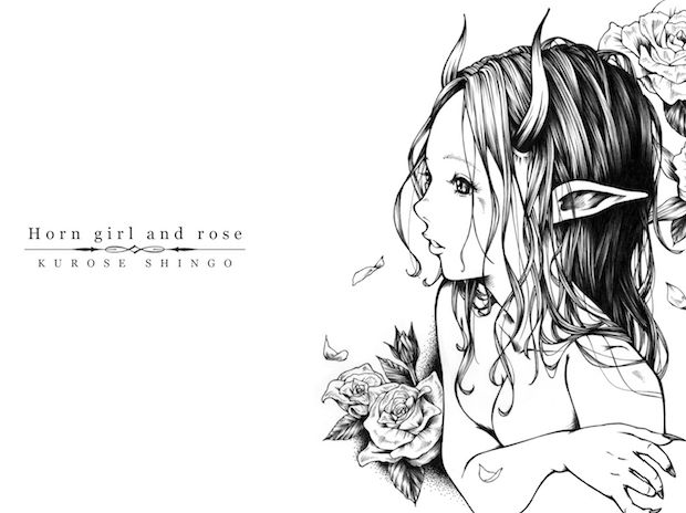 【PC壁紙1920×1200】Horn girl and rose