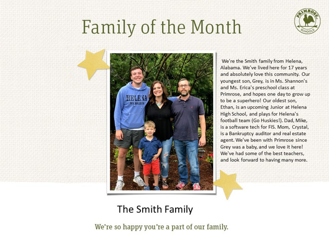 July Family Of The Month