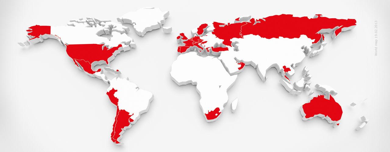 Weltkarte mit Kennzeichnung aller Engel & Völkers Standorte