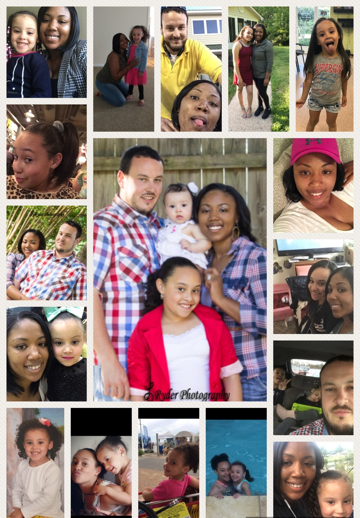 The Martin family in a collage of photos