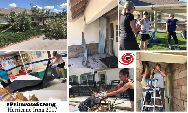 Collage of images from the renovation work being done to the school building after Hurricane Irma hit North Naples