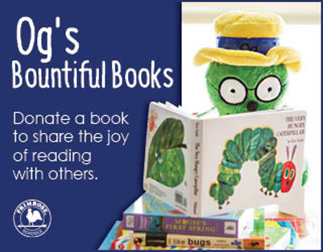 Poster for Og's bountiful books drive featuring Og the bookworm reading a book