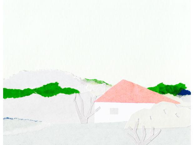 赤い屋根の家がある風景