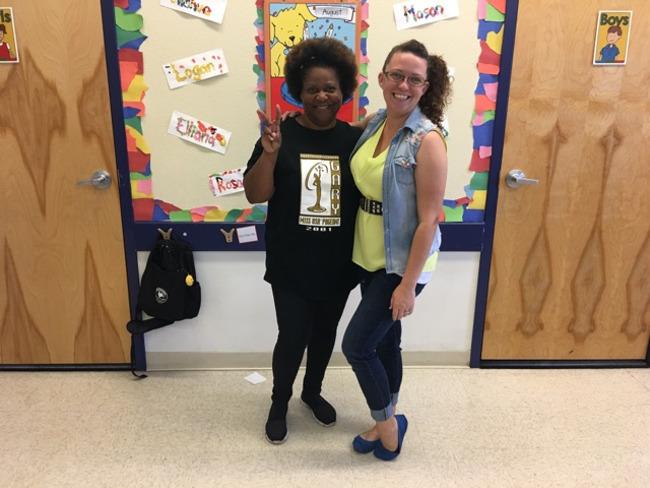 Two Primrose teachers dress up for flashback friday